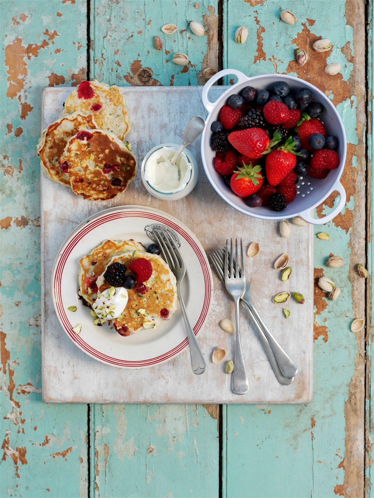 Pistachio, Oat And Cranberry Breakfast Pancakes