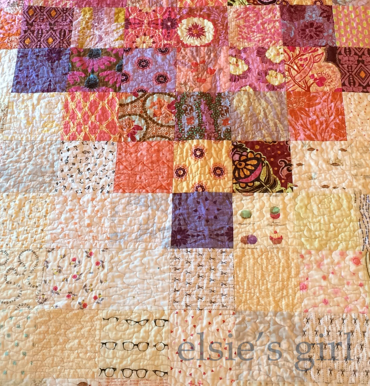Elsie S Girl Pixelated Heart Quilt