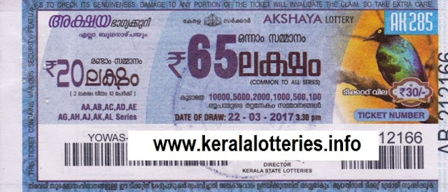 Official Kerala lottery result of Akshaya (AK-295)