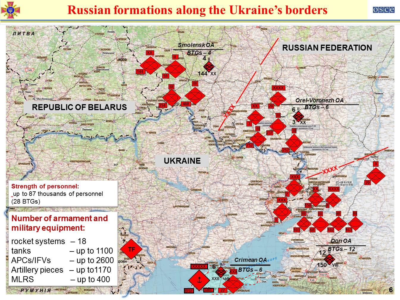 1100 російських танків і 330 літаків уздовж кордону з Україною