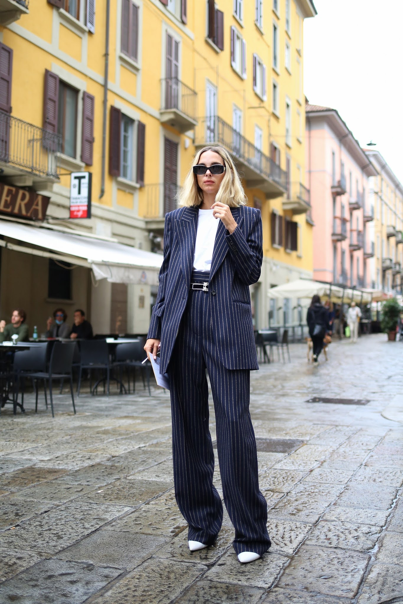 How to Wear a Suit for Casual Days and Zoom Meetings  — Street style outfit idea with a pinstripe suit