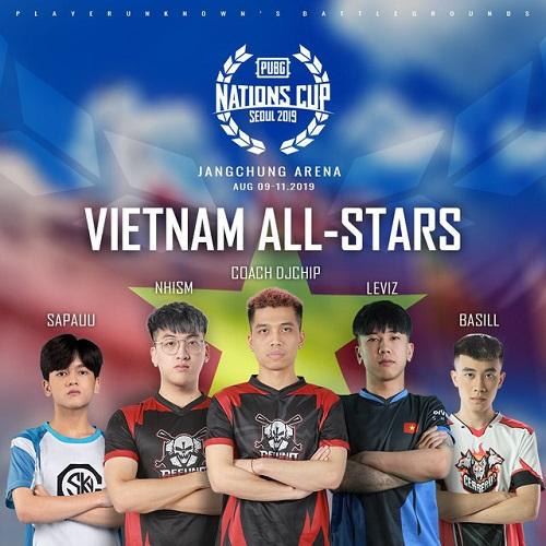 Menu tuyển PUBG All Star việt nam tham dự giải Nations Cup 2019
