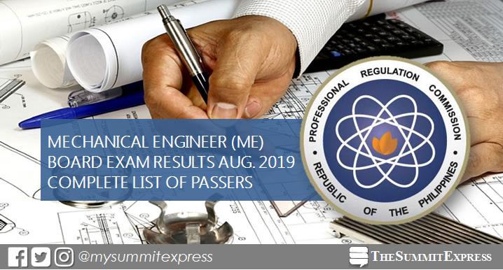 August 2019 Mechanical Engineer ME, CPM board exam list of passers, top 10