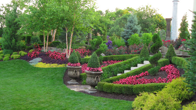 Pretty garden with Trees and flowers