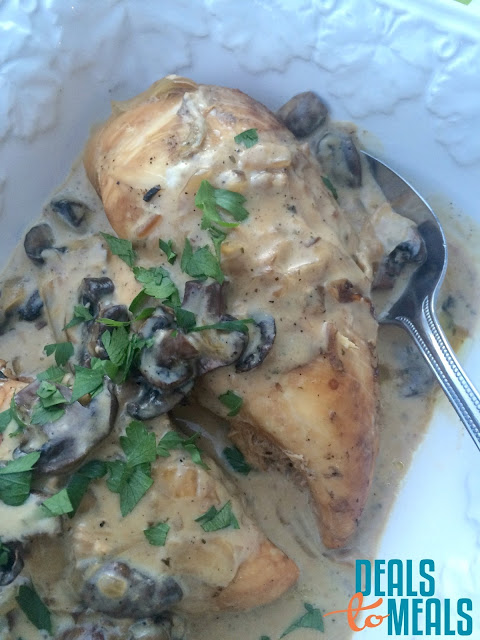 Recipe:  Chicken, Recipe:  Slow Cooker, Easy Meal Ideas, 30 minute meal, Slow Cooker Creamy Mushroom Chicken, Deals to Meals