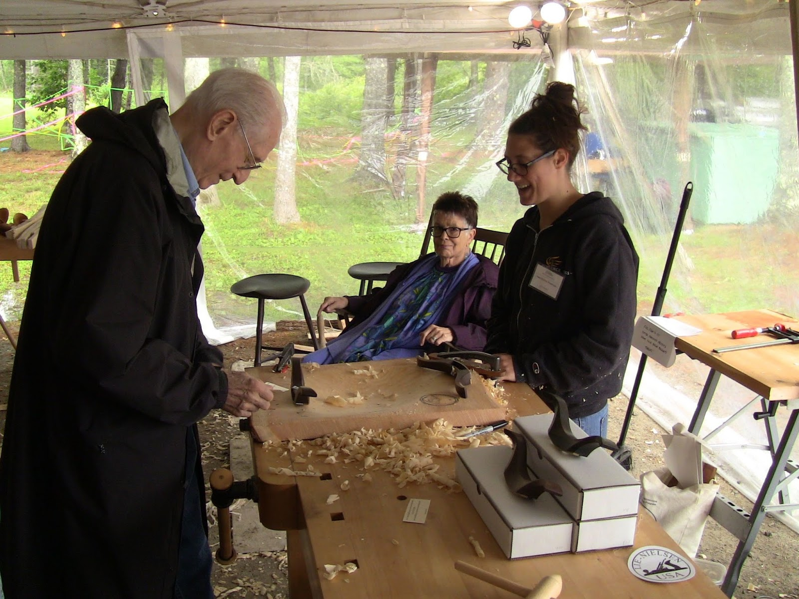 Claire Minihan demonstrating her magnificent chairmaking travishers.