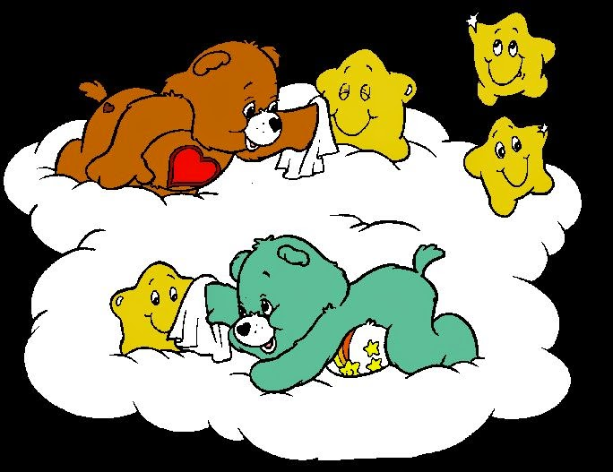 Care Bears in Black Background: Free Printable Images