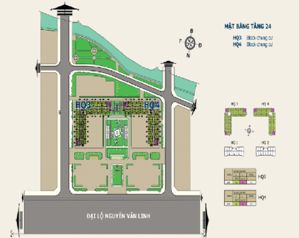 Mặt bằng tầng 24 Nhà ở xã hội: Căn hộ trả góp HQC Plaza tại TPHCM