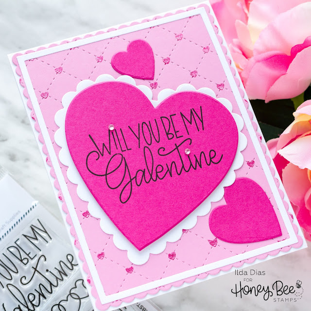Galantine, Valentine's Day Card,Honey Bee Stamps, Love Letters, Sneak Peeks,Card Making, Stamping, Die Cutting, handmade card, ilovedoingallthingscrafty, Stamps, how to, Quilted Cover plate