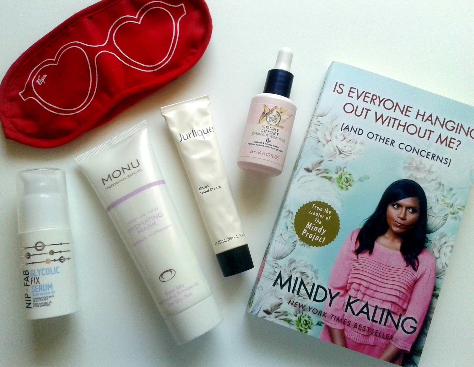 My Bedtime Essentials Nip + Fab The Body Shop Jurlique Monu Skincare Minday Kaling Beauty Review