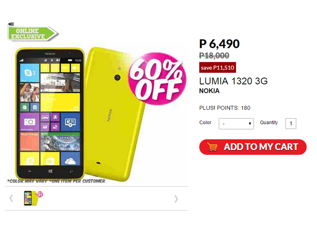 Sale Alert: Purchase Nokia Lumia 1320 For Only Php 6.5K From Php18K