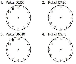 Tentukan letak jarum jam untuk waktu-waktu berikut ini www.simplenews.me