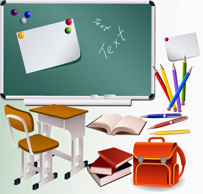 Elementos de un aula escolar - Vector