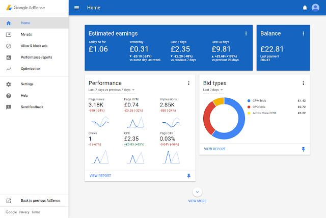 AdSense New UI Dashboard