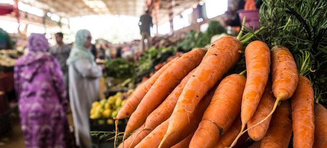 Zanahorias en un mercado de Marruecos.FAO/Alessandra Benedetti