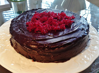 Chocolate Beetroot Cake with Candied Beetroot