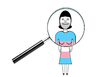 Cartoon of a trans woman magnified by Wendy Cockcroft for On t'Internet