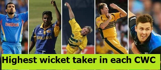McGrath, Cham.Vaas, Stark, Boult are Highest wicket takers in each edition of Cricket World Cup, CWC 1975-2015