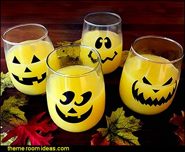Halloween Jack O'Lantern Stemless Wine Glasses  Halloween decorations - Halloween decorating props - Halloween decor  - ghost decorations - Haunted mansion decorations - Pumpkin decorations - Skulls & Skeletons Halloween bedding - HALLOWEEN COSTUMES - zombie decor - Spider decorations