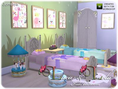 Kids bedroom Luca & Lola Детская спальня Luca & Lola для The Sims 4 2 односпальные кровати для детей. 1 розовая и 1 синяя для одевания кровати и деревянный пол для кровати. нижний столик ниже в 3 цветах. дерево. синий и розовый. 4 декоративные круглые коробки с кружевами и деко в форме сердца 4 разных детских коврика. 6 разных детских настенных росписей. 1 большой декоративный комод текстуры древесины. 2 декоративные карусели в розовом и 1 в синем. 1 декоративная лошадка-качалка белого цвета с декоративными цветами и розовым узлом. Очень романтичная детская спальня для вас, симов. все объекты тестируются в игре sims 4 последнее обновление. Автор: jomsims