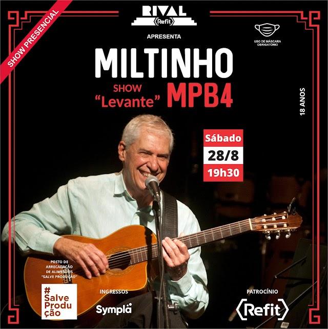 Teatro Rival Refit apresenta: Miltinho - show presencial com protocolos de segurança
