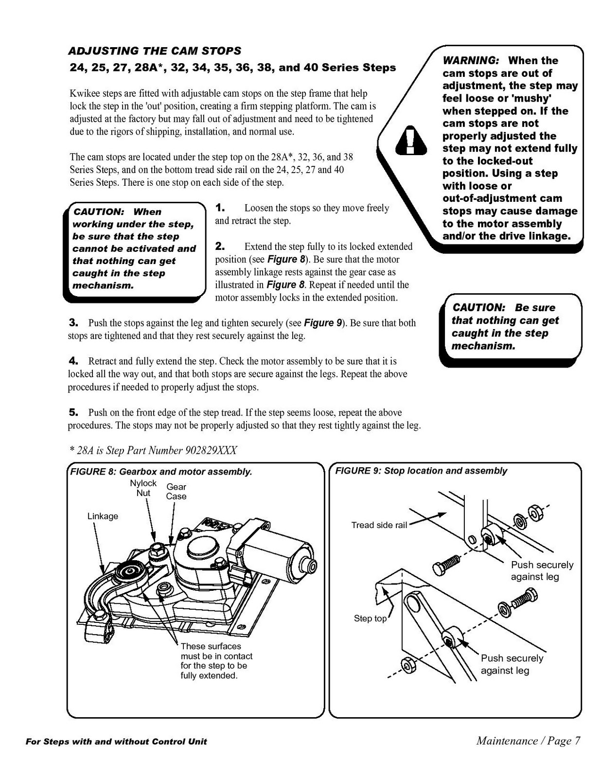 1983 Fleetwood Pace Arrow Owners Manuals: Kwikee Electric Step Manual