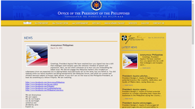 Philippines President's website defaced by Anonymous Hackers