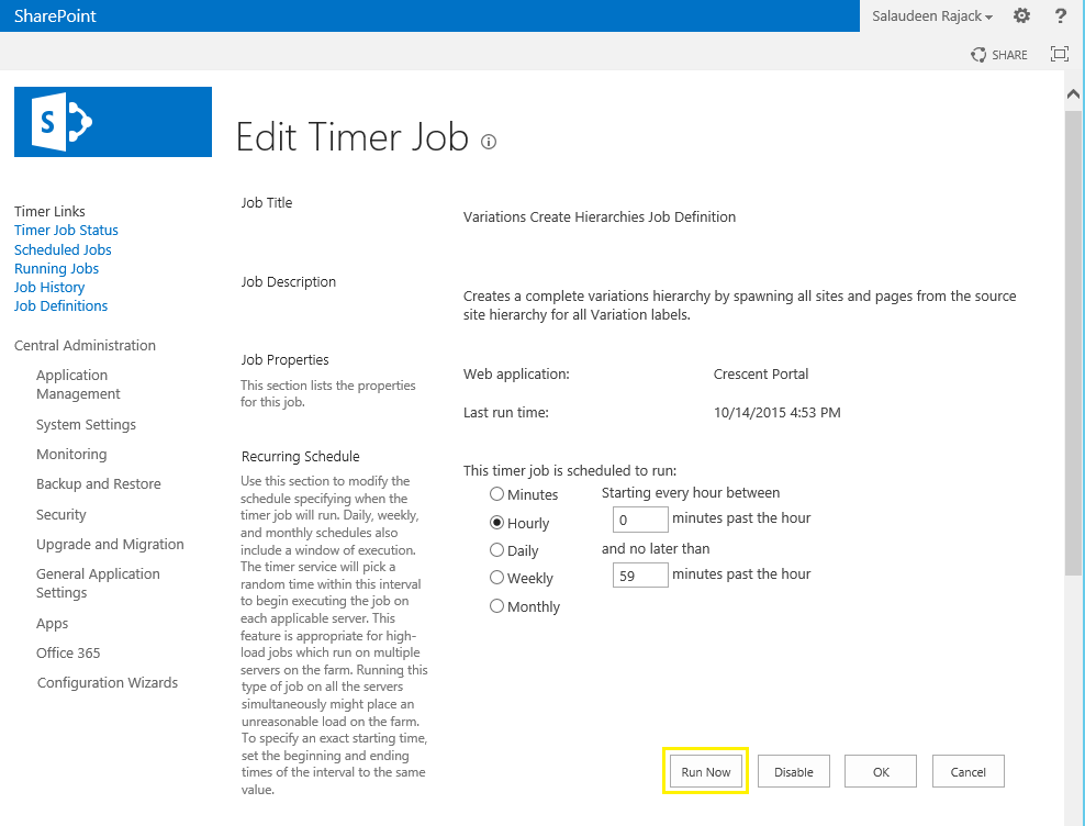 variation timer jobs sharepoint 2013