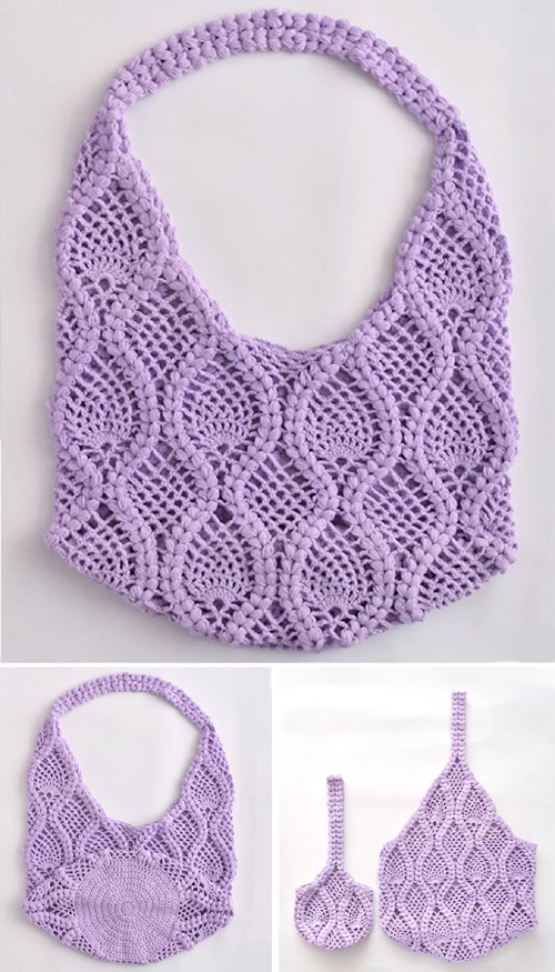 Crochet Round Bag of Pineapples - Tutorial