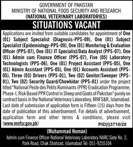 Ministry of National Food Security & Research Jobs 2021 - MNFSR Jobs 2021 - National Veterinary Laboratories Jobs 2021 - Download Job Application Form :- www.mnfsr.gov.pk