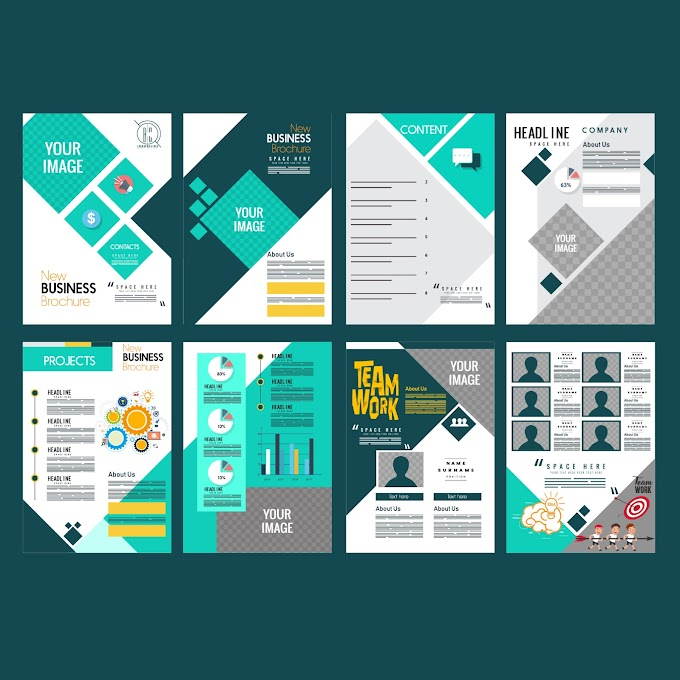 Corporate brochure templates colorful modern layout Free vector