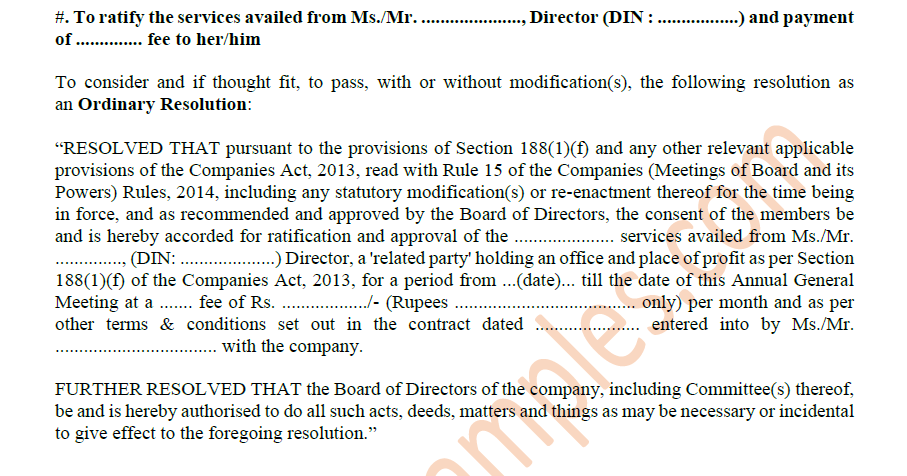 draft board resolution under section 188 of companies act 2013