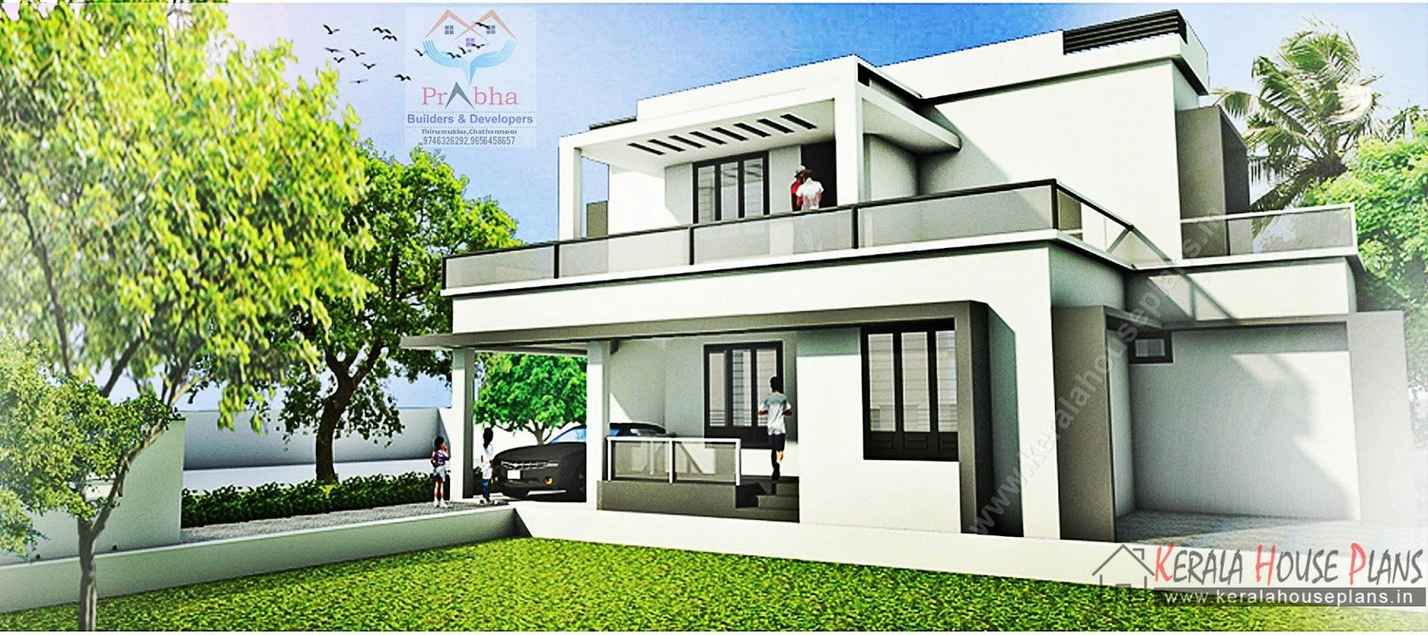 Contemporary kerala model house elevation and floor for House elevation models