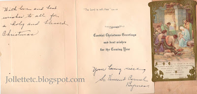 Christmas card from Sister Vincent Carmel aka Sadie Byrnes https://jollettetc.blogspot.com