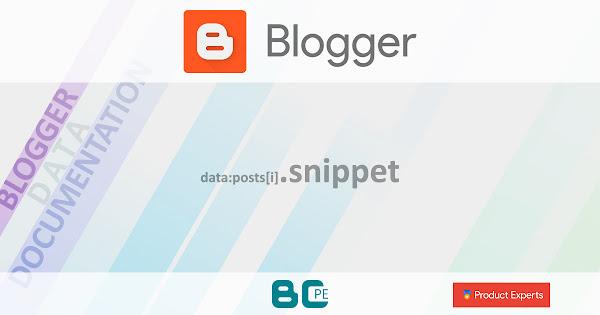 Blogger - Gadgets Blog, FeaturedPost et PopularPosts - data:posts[i].snippet