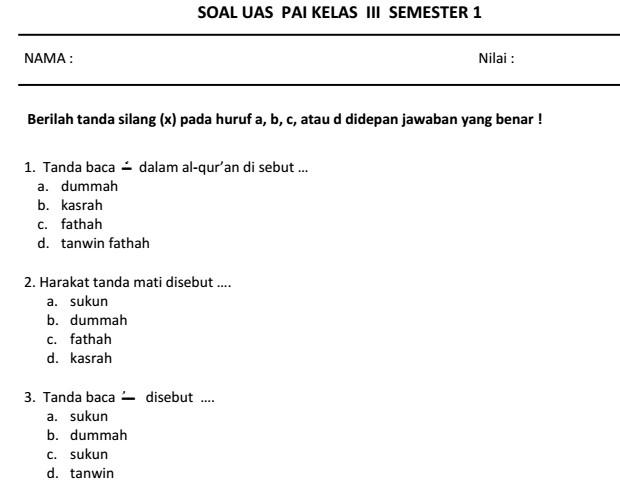 Soal Agama Islam Kelas 5 Semester 1 Dan Kunci Jawaban