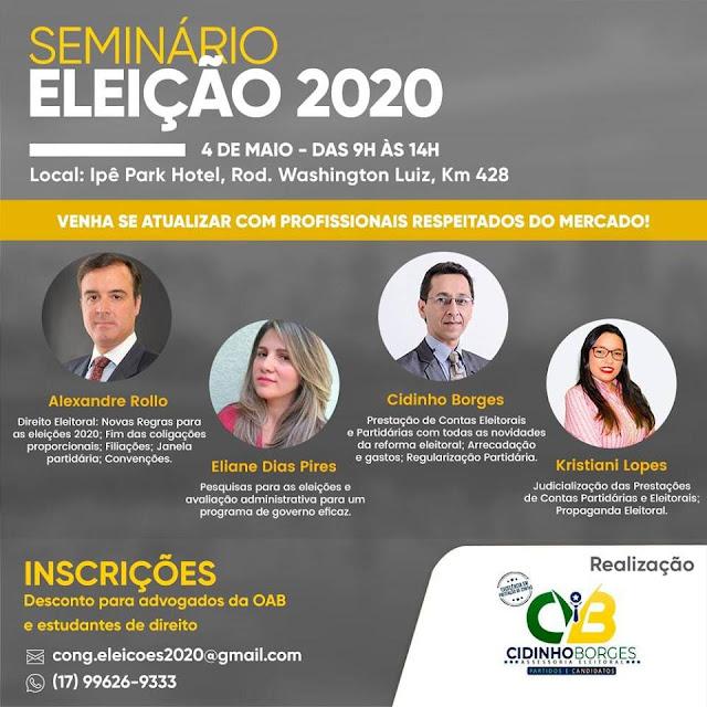 Seminário sobre Eleições 2020 acontece dia 4 de maio em Rio Preto