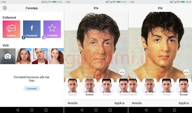 FaceApp 2019 con foto viso invecchiato e ringiovanito