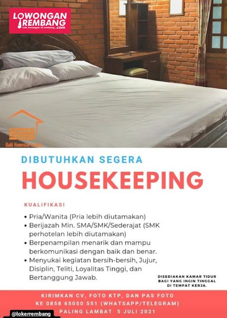 Lowongan Kerja Housekeeping Baiti Homestay Lasem Rembang