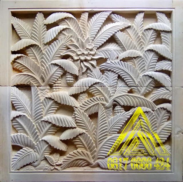 Relief batu alam paras jogja, paras putih motif pohon palem