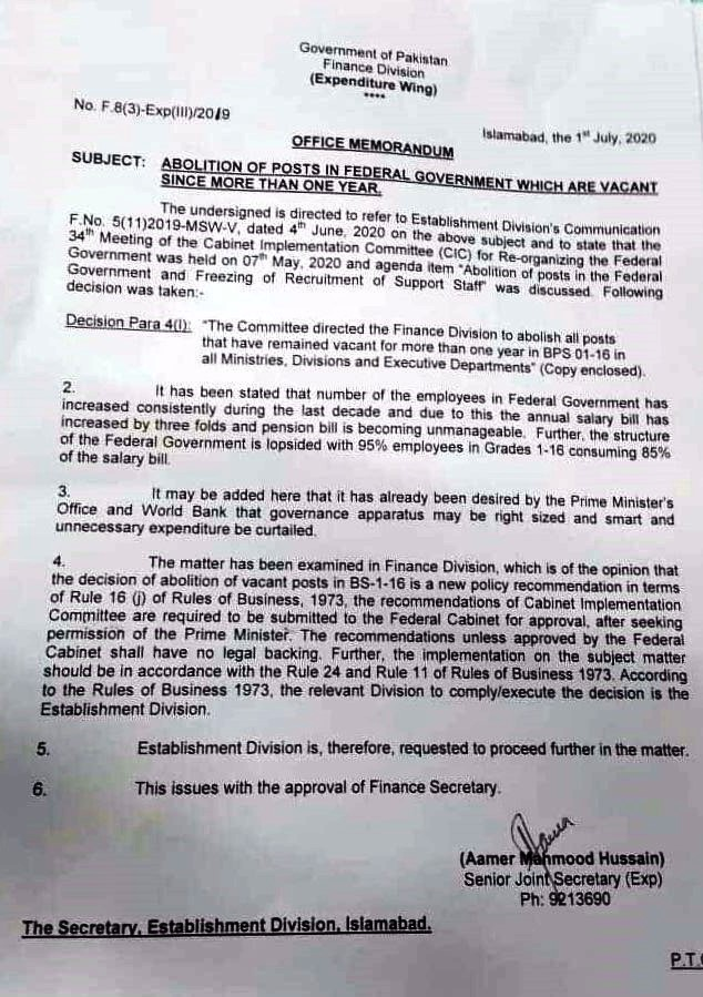 NOTIFICATION REGARDING ABOLITION OF POSTS WHICH ARE VACANT MORE THAN ONE YEAR AND WITHDRAWAL OF SAME NOTIFICATION