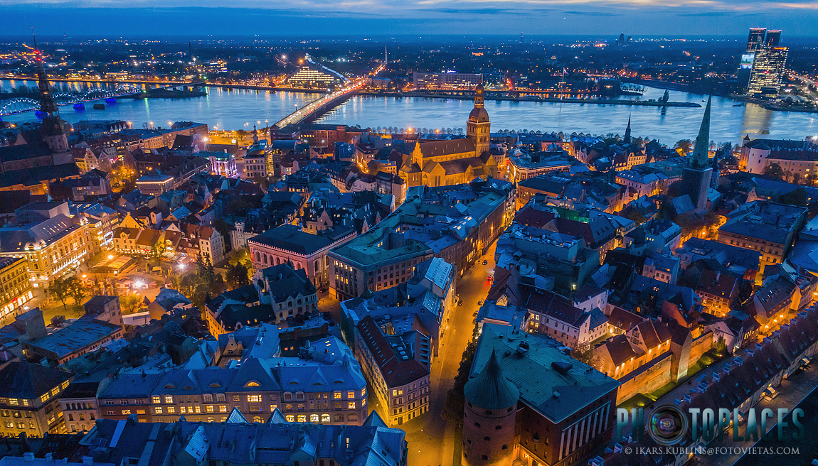 Riga Old Town from above in blue hour