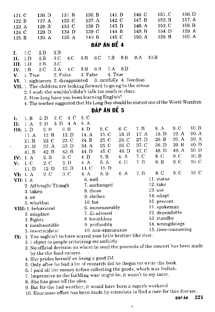 Đáp Án - Bài Tập Mai Lan Hương Tiếng Anh Lớp 9 - Sách Lớp 9