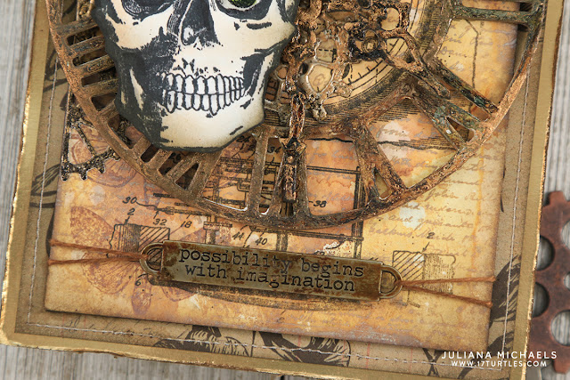Mr Bones Possibility Begins With Imagination Mixed Media piece by Juliana Michaels featuring Tim Holtz, Stampers Anonymous, Ranger Ink, and Sizzix products.