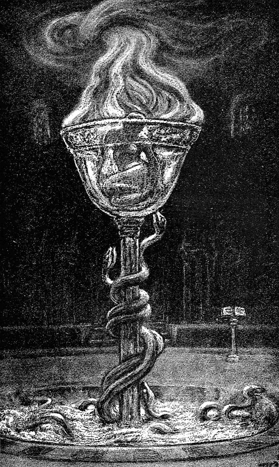 Elihu Vedder art, poison in a glass