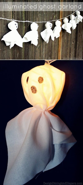 Make a DIY Lighted Ghost Garland for Halloween!
