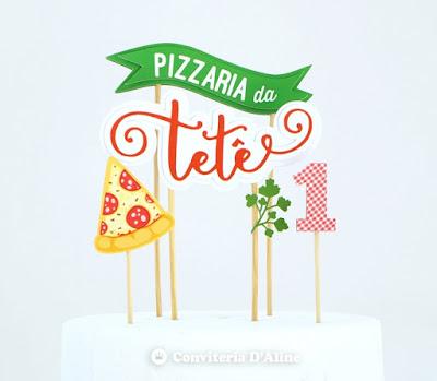 topo bolo pizzaria personalizado festa aniversario