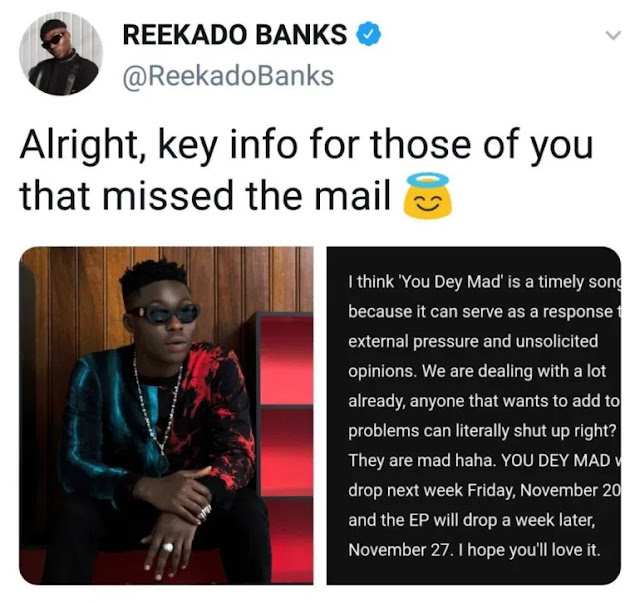 You Dey Mad! Reekado Banks Set To Release Diss Track For Fellow Singer, Wizkid