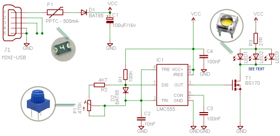 Phone selfie lights lamp circuit schematic