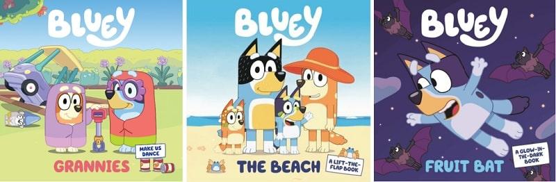 bluey board books - grannies, the beach, fruit bat